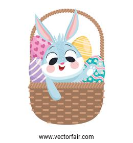 cute easter rabbit and eggs in basket character