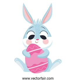 cute easter rabbit hugging egg painted character