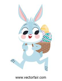 cute easter rabbit lifting eggs in basket character