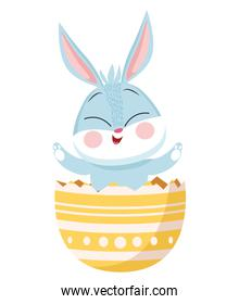 cute easter rabbit in egg break painted character