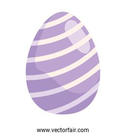 easter egg paint with lilac and white stripes