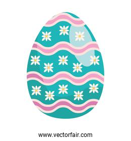 easter egg paint with flowers and waves