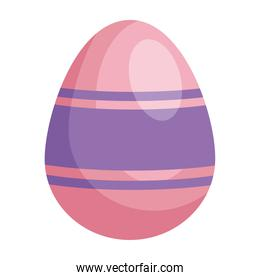 easter egg painted pink and purple isolated icon