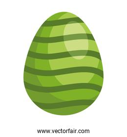 easter egg with waves green painted isolated icon