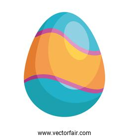 easter egg blue and orange painted isolated icon