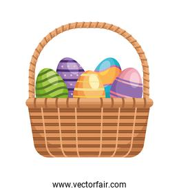 easter eggs painted in basket straw isolated icon