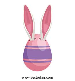 easter egg painted pink with rabbit ears isolated icon