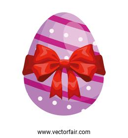 easter egg painted purple with ribbon red isolated icon