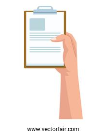 hand lifting checklist clipboard document isolated design