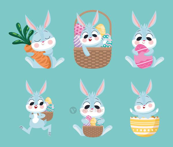 bundle of six happy rabbits easter set icons