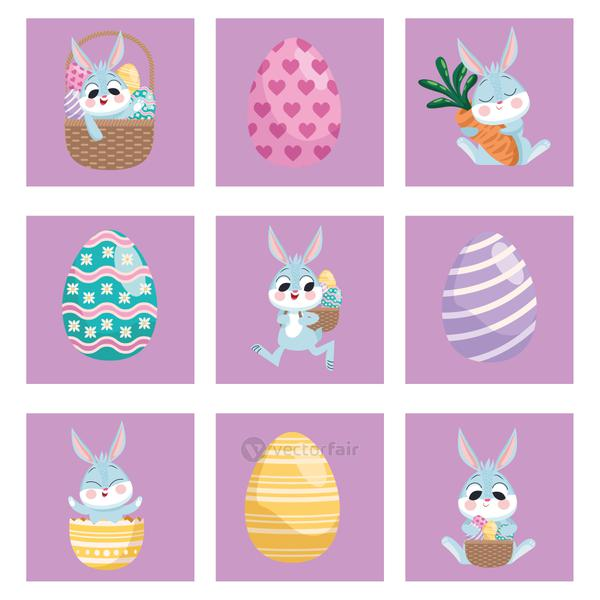 nine happy easter set icons