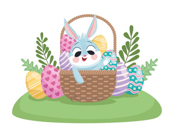 happy easter card with cute rabbit and eggs painted in basket