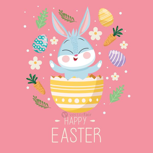 happy easter lettering card with cute rabbit in egg painted