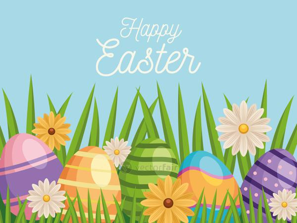 happy easter lettering card with eggs painted and flowers in garden
