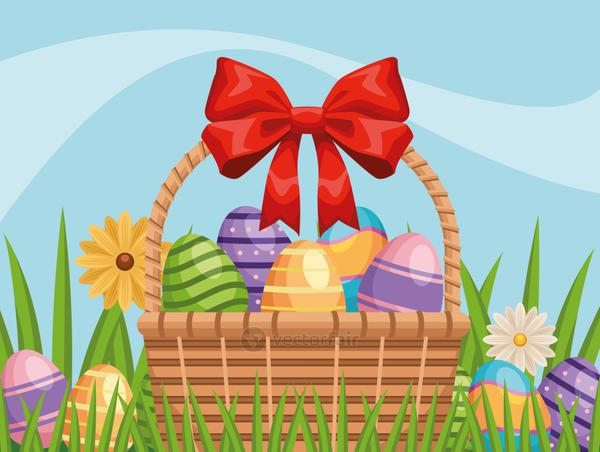 happy easter card with eggs painted in basket and flowers garden