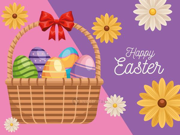 happy easter lettering card with eggs painted in basket and flowers