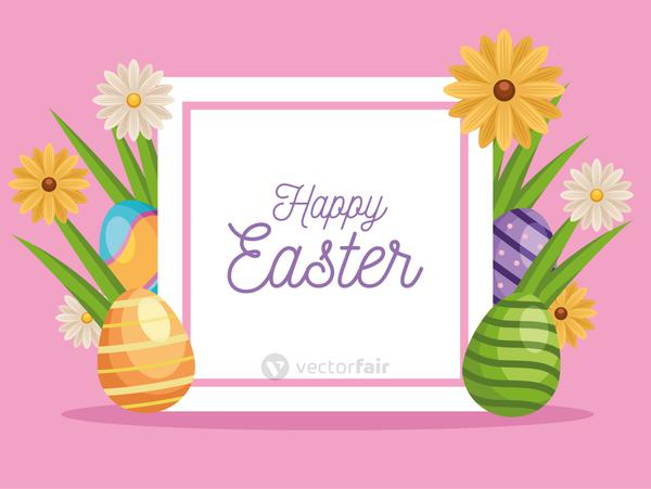 happy easter lettering card with eggs painted and flowers in square frame