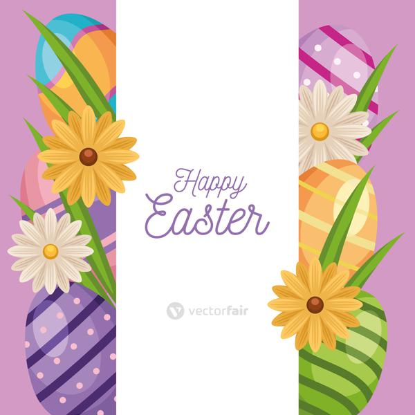 happy easter lettering card with eggs painted and flowers frame