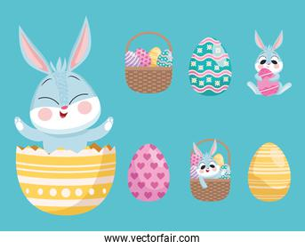 rabbit in egg painted with bundle of six happy easter set icons