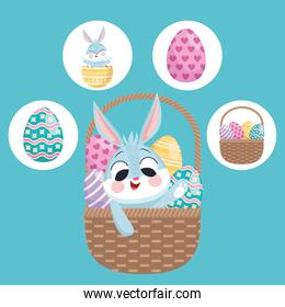 rabbit and eggs painted in basket and bundle of four happy easter set icons