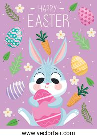 happy easter lettering card with cute rabbit hugging egg