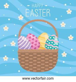 happy easter card with eggs painted in basket and flowers