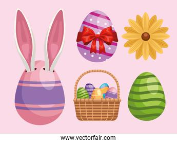 bundle of five happy easter icons set