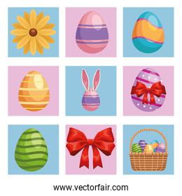 bundle of nine happy easter icons