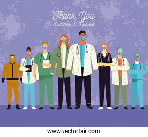 thank you doctors and nurses lettering with medical staff