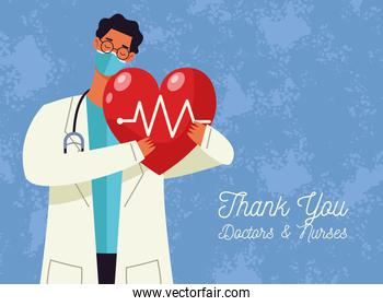 thank you doctors and nurses lettering with doctor male lifting heart cardio
