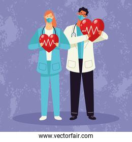 doctor couple wearing medical mask and hearts cardio