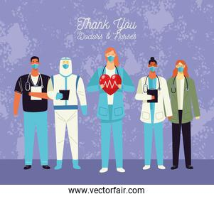 thank you doctors and nurses lettering with medical staff and hearts