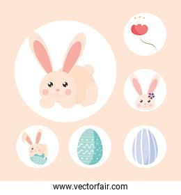 set easter rabbit eggs