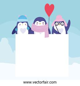 penguins with scarf,hat, balloon and banner
