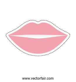80s patch of a pink lips