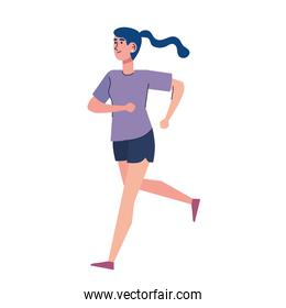 young athletic girl running character