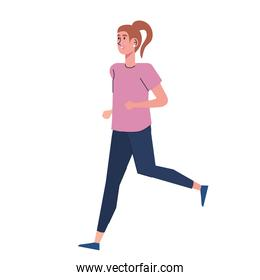 young girl running character icon