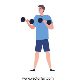young boy lifting dumbbells strong character