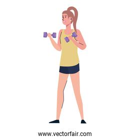young athletic woman lifting dumbbell