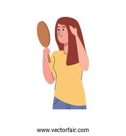 beautiful sexy girl with mirror isolated character