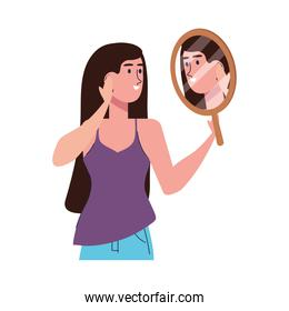 beautiful girl with mirror isolated character