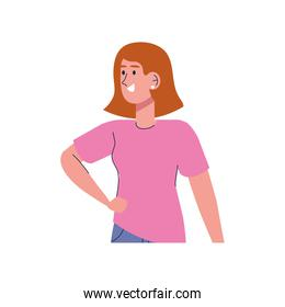beautiful sexy girl with pink shirt character