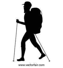 athlete practicing hike sport silhouette