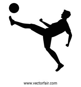 athlete practicing soccer sport silhouette