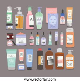 bundle of skin care icons in gray background