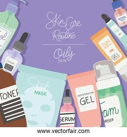 skin care rutine and oily skin lettering on a purple background