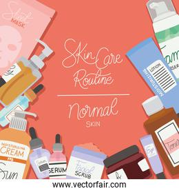 skin care rutine and normal skin lettering on a red background