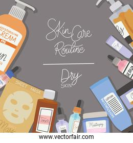 skin care rutine and dry skin lettering on a gray background