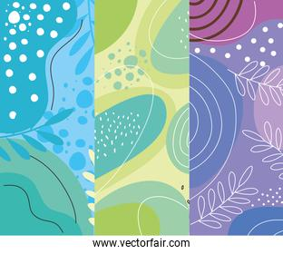 three abstracts organics set backgrounds
