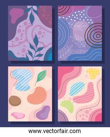 four abstracs organics shapes backgrounds